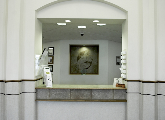 View of hospital reception area